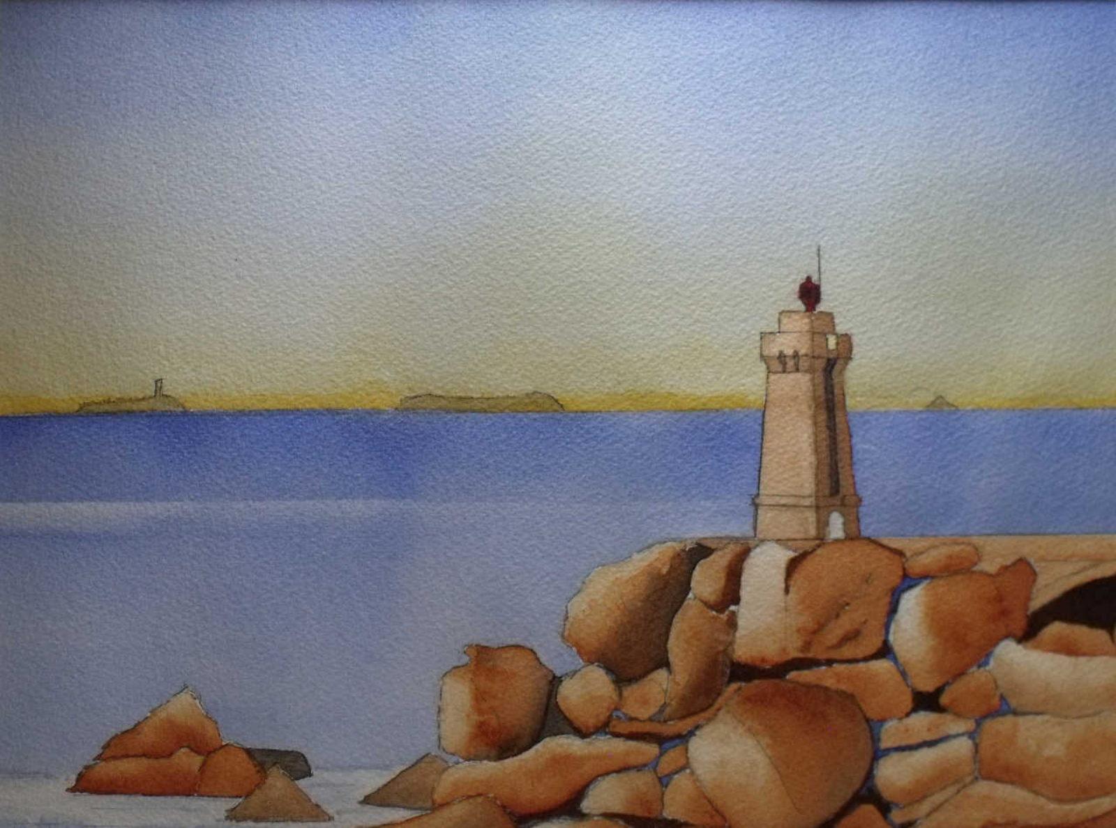 Tableau aquarelle Bretagne GR34 Men Ruz, le phare de Ploumanach 1