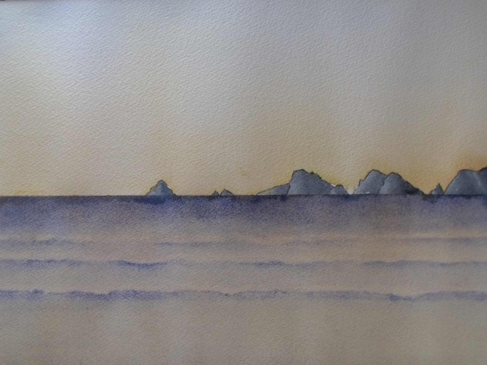 Tableau aquarelle Bretagne GR34 Les Tas de Pois côté sud