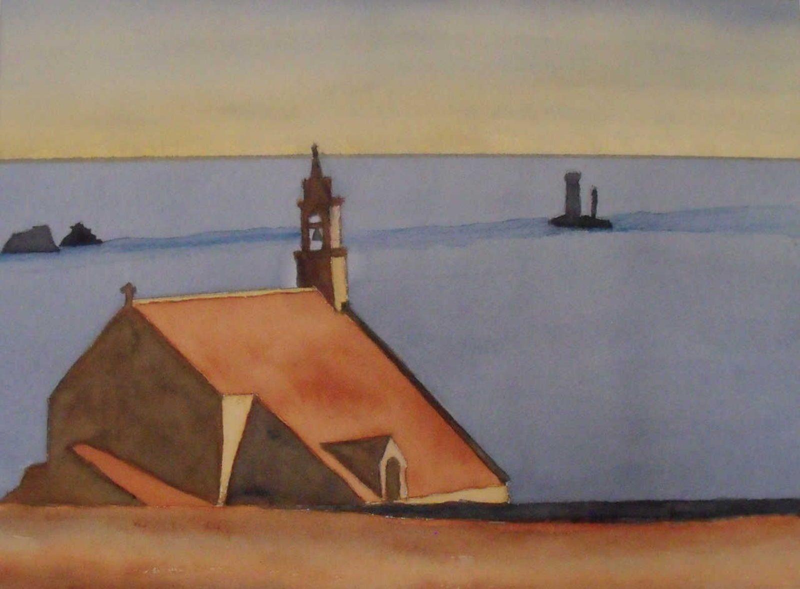 Tableau aquarelle Bretagne GR34 Chapelle Saint They