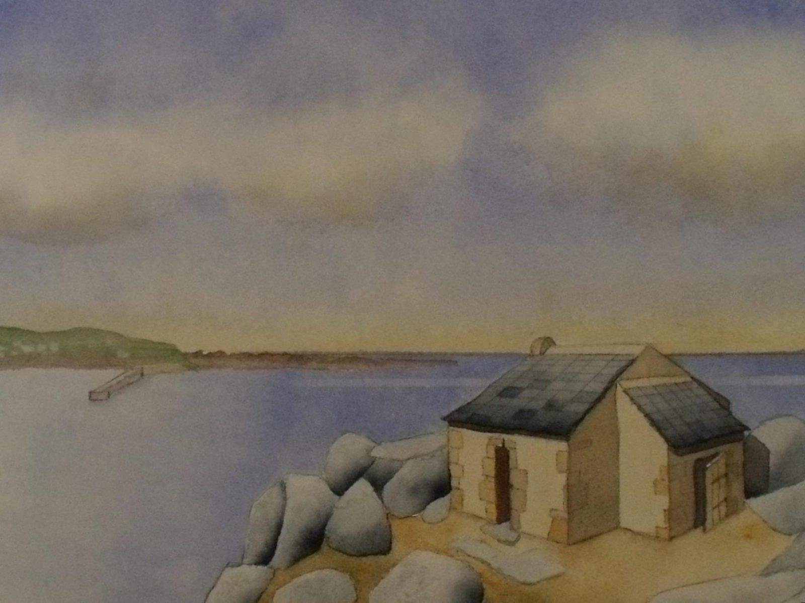 Tableau aquarelle Bretagne GR34 Abri des douaniers de la pointe de Primel